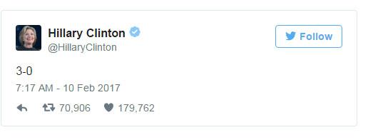 Bà Clinton bình luận ngắn gọn sau khi Tòa phúc thẩm khu vực số 9 đưa ra phán quyết về lệnh cấm nhập cảnh của Tổng thống Trump.