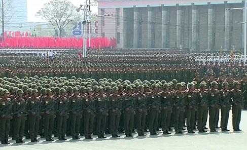 Binh sĩ tại lễ diễu binh. Ảnh: RT