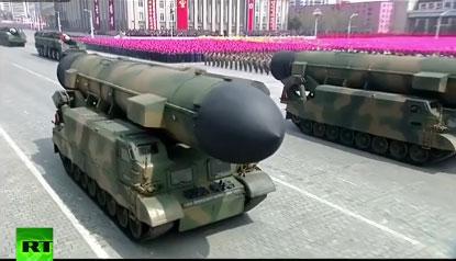 Giới phân tích Hàn Quốc cho rằng lễ diễu binh là dịp để Triều Tiên phô trương vũ khí. Ảnh: RT