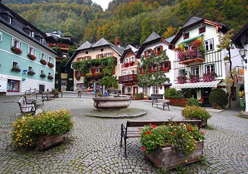 Những ngôi nhà gỗ với dàn hoa leo quyến rũ ở làng Hallstatt