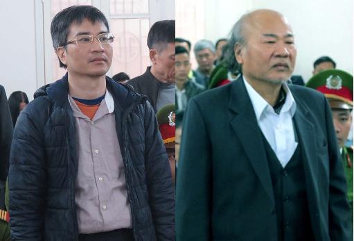 Bị cáo Giang Kim Đạt (trái) và bố, bị cáo Giang Văn Hiển, tại toà