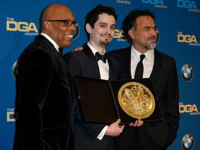 Damirn Chazelle (giữa) sẽ lập kỷ lục là đạo diễn trẻ nhất trong lịch sử giải thưởng Oscar chiến thắng giải Đạo diễn xuất sắc nhất? Ảnh: BBC