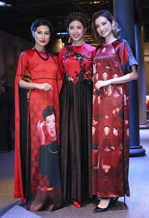 Các người mẫu Việt trong trang phục ao dài cách điệu tông đỏ cá tính