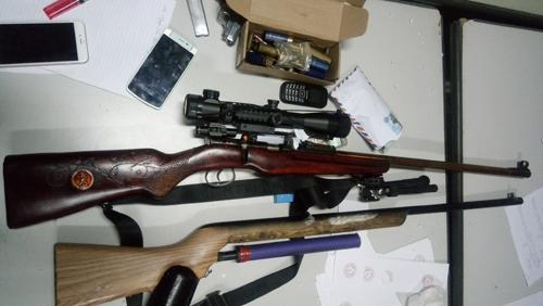 Kho vũ khí mà lực lượng công an thu giữ khi bắt trùm ma túy Su Feng