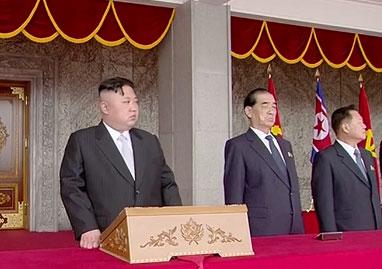 Nhà lãnh đạo Kim Jong-un tại lễ diễu binh Ngày Ánh Dương. Ảnh: RT
