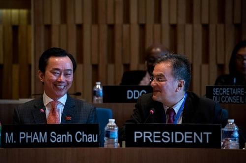 Đại sứ Phạm Sanh Châu xuất sắc vượt qua vòng thi làm Tổng Giám đốc UNESCO ngày 27-4 được truyền hình trực tiếp - Ảnh: Vụ Văn hóa đối ngoại và UNESCO, Bộ Ngoại giao