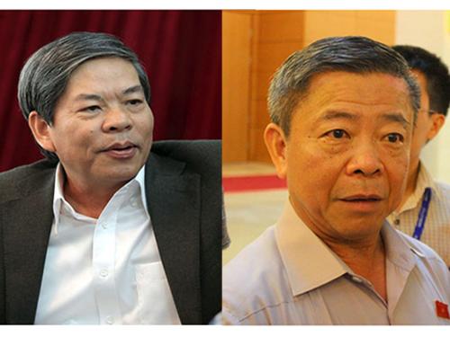 Nguyên Bộ trưởng Tài nguyên - Môi trường Nguyễn Minh Quang (trái) và nguyên Bí thư Tỉnh ủy Hà Tĩnh Võ Kim Cự Ảnh: BẢO TRÂN