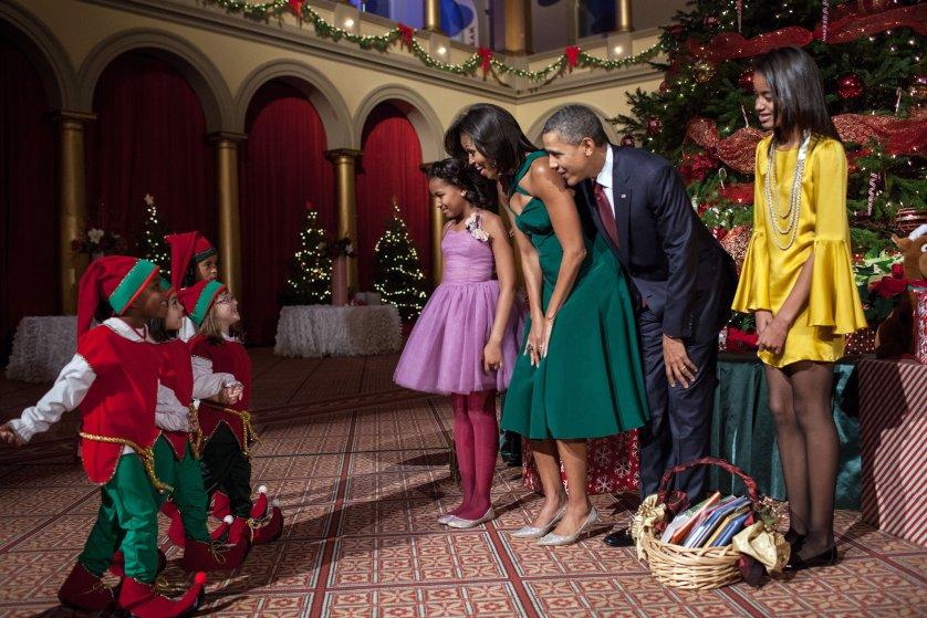 Gia đình Obama trong lễ giáng sinh năm 2011. Ảnh: Nhà Trắng