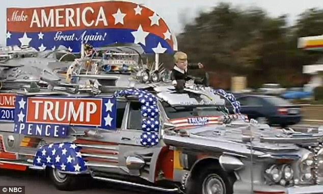 Chiếc xe Trumpmobile - do một cặp vợ chồng người Phần Lan sống ở bang Florida chế tạo - cũng đến gần Washington. Ảnh: NBC