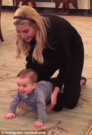 Ivanka Trump đăng ảnh bé Theodore bò lần đầu tiên tại Nhà Trắng. Ảnh: Instagram