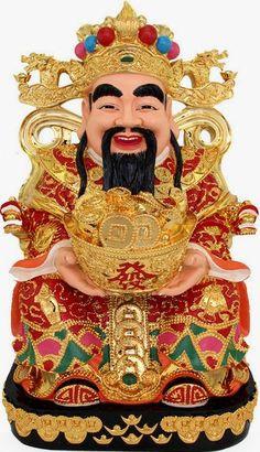 Hình Ảnh Ông Thần Tài Đội Mũ Cánh Chuồn, Cầm Thỏi Vàng, Tươi Cười
