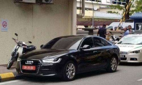 Xe của đại sứ quán Triều Tiên xuất hiện ở nhà xác bệnh viện Kuala Lumpur. Ảnh: Daily Star