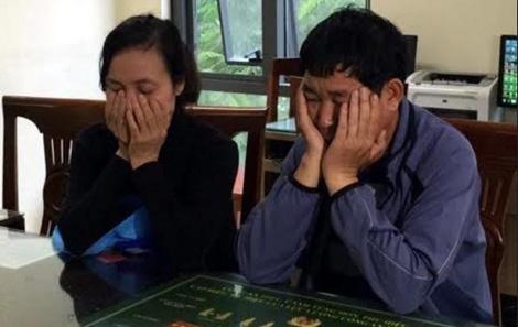 Cặp vợ chồng Thanh - Tý tại cơ quan Công an.