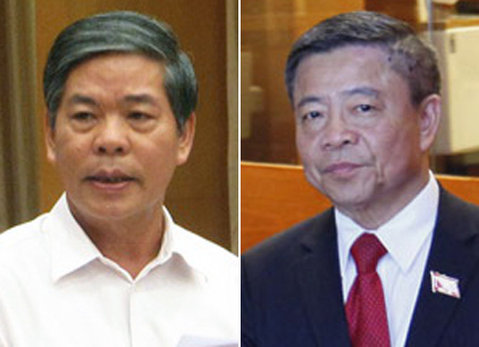 Cựu Bộ trưởng Tài nguyên và Môi trường Nguyễn Minh Quang (bìa trái) và cựu Chủ tịch, Bí thư Hà Tĩnh Võ Kim Cự (bìa phải)