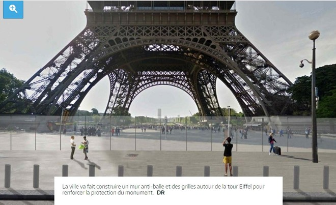 Diện mạo mới của tháp Eiffel nhanh chóng được lan truyền. Ảnh: Twitter.