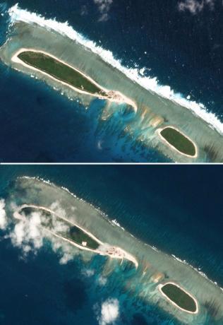 Đảo Bắc tại Hoàng Sa ngày 15-2 (trên) và ngày 6-3 (dưới). Ảnh: Reuters