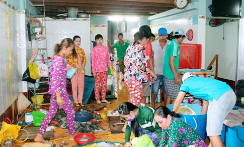 Cơ sở của bà Hà Thị Kiều bị bắt quả tang đang cho công nhân bơm tạp chất vào tôm nguyên liệu