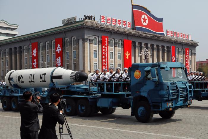 Tên lửa phóng từ tàu ngầm Pukkuksong. Ảnh: REUTERS