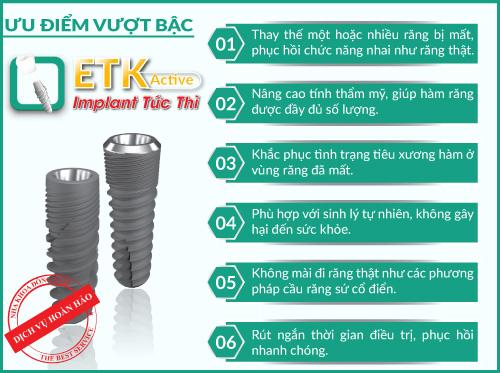 Implant ETK Active mang đến nhiều ưu điểm nổi bật