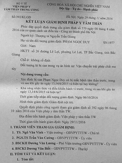 Kết luận giám định pháp y tâm thần xác định Phạm Ngọc Duy không có bệnh tâm thần.