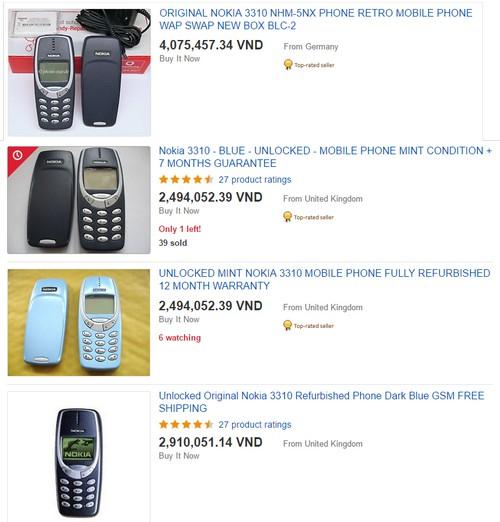 Giá Nokia 3310 (2000) trên eBay cũng không hề rẻ.