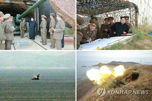 Một cuộc diễn tập bắn đạn thật ở bờ biển phía Tây của Triều Tiên. Ảnh: Yonhap
