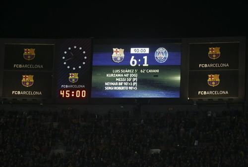 Bảng tỉ số sân Nou Camp với kết quả khó tin