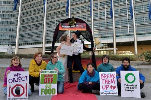 Một nhóm hoạt động vì môi trường tại Brussels (Bỉ) bày tỏ sự phản đối với Tập đoàn Monsanto Ảnh: REUTERS