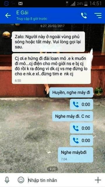 Tin nhắn từ tài khoản zalo của Huyền gửi cho chị gái trước khi mất liên lạc. Theo chị Yến, tin nhắn này không phải do Huyền nhắn