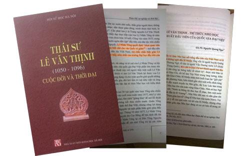 """Bìa cuốn sách """"Thái sư Lê Văn Thịnh (1050-1096): Cuộc đời và thời đại"""" và một vài trang sai sót"""