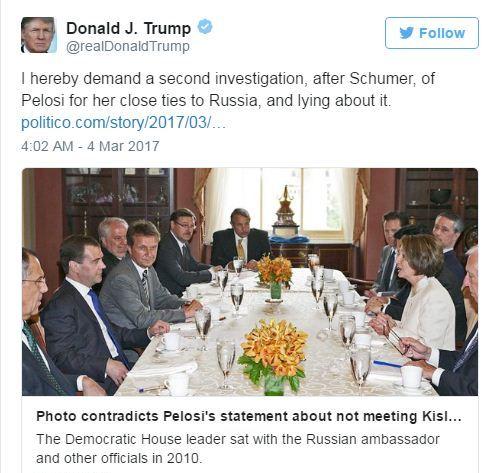 Ông Trump còn đăng trạng thái yêu cầu Hạ nghị sĩ Nancy Pelosi phải bị điều tra ngay sau ông Schumer. Ảnh: Twitter