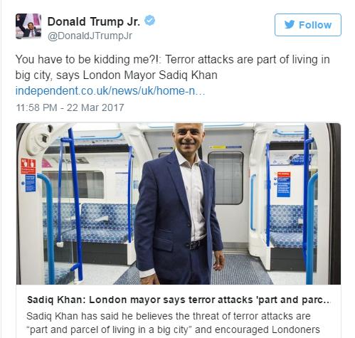 Con trai ông Trump chỉ trích Thị trưởng London Sadiq Khan sau vụ tấn công. Ảnh: Twtitter