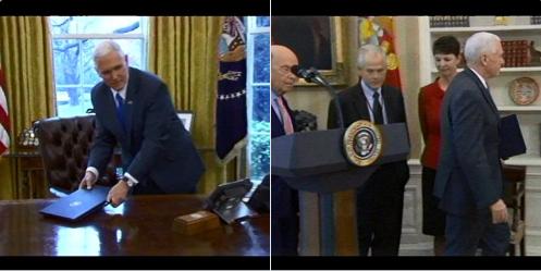 Phó Tổng thống Pence quay lại lấy văn kiện trên bàn tổng thống. Ảnh: Twitter