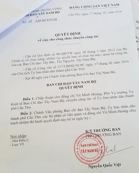 Hủy quyết định tiếp nhận, bổ nhiệm vụ phó Vũ Minh Hoàng - Ảnh 1.