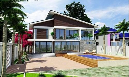 10 mẫu nhà 2 tầng mái lệch đẹp hiện đại - Ảnh 4.