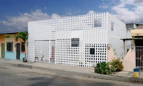 Ngôi nhà lạ mắt với bức tường gạch rỗng - Ảnh 1.