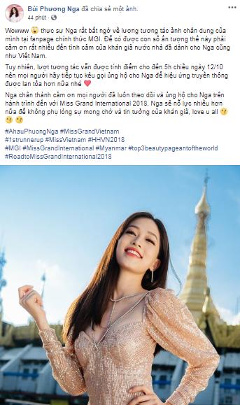 Á hậu Phương Nga dẫn đầu bình chọn tại Miss Grand International 2018 - Ảnh 4.