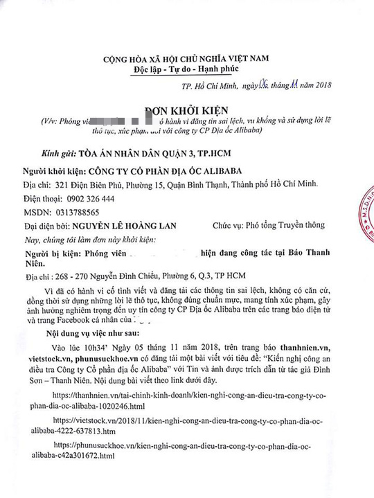 Real Estate Alibaba sued a journalist to declare it stigmatized - Photo 1.