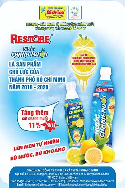 Nước chanh muối Restore là sản phẩm chủ lực - Ảnh 1.