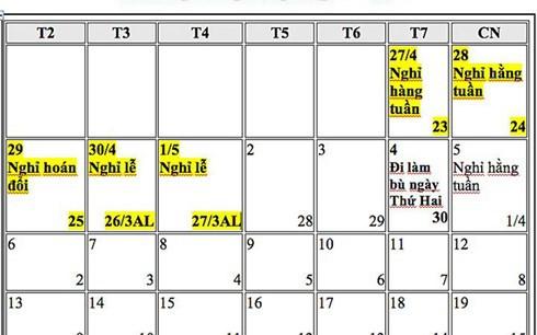 Đề xuất hoán đổi ngày nghỉ Tết Dương lịch, nghỉ Lễ 30-4 và 1-5 năm 2019 - Ảnh 2.