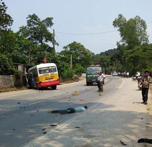 Tai nạn kinh hoàng giữa xe buýt với 3 xe máy, 5 người thương vong - Ảnh 1.