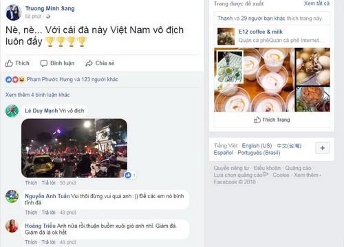 Mạng xã hội Facebook tràn ngập sắc đỏ chiến thắng - Ảnh 2.