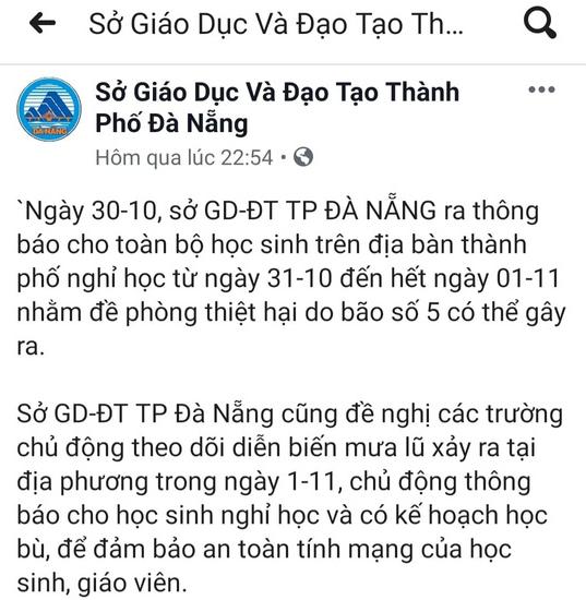 Giả công văn Sở GD-ĐT để thông báo cho học sinh toàn Đà Nẵng nghỉ học - Ảnh 1.
