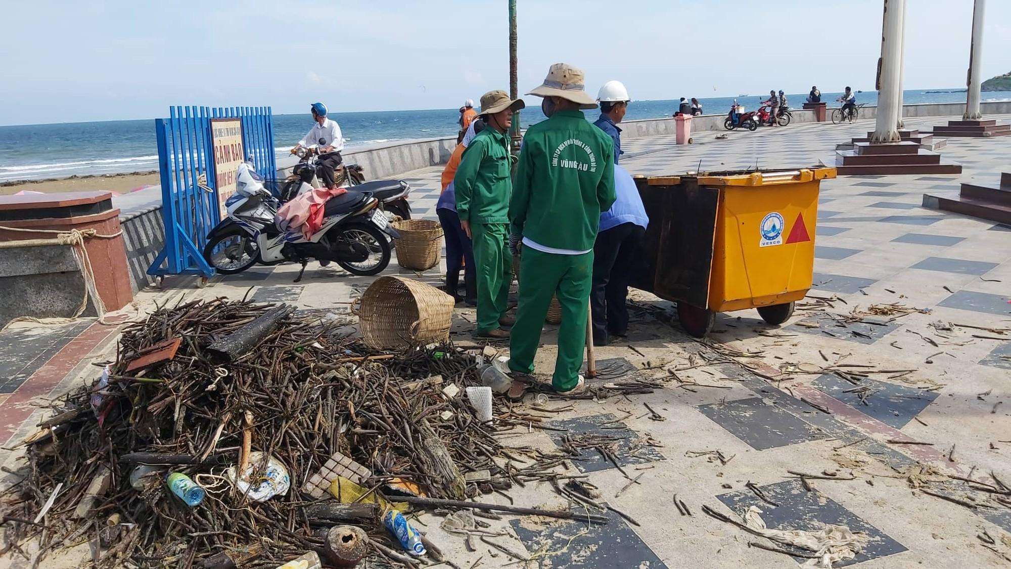 Cận cảnh bãi biển Vũng Tàu bị cả trăm tấn rác vây kín! - Ảnh 2.