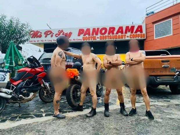 Xác minh thông tin nhóm người đàn ông khỏa thân đi xe máy, làm lố ở danh thắng Mã Pí Lèng - Ảnh 1.