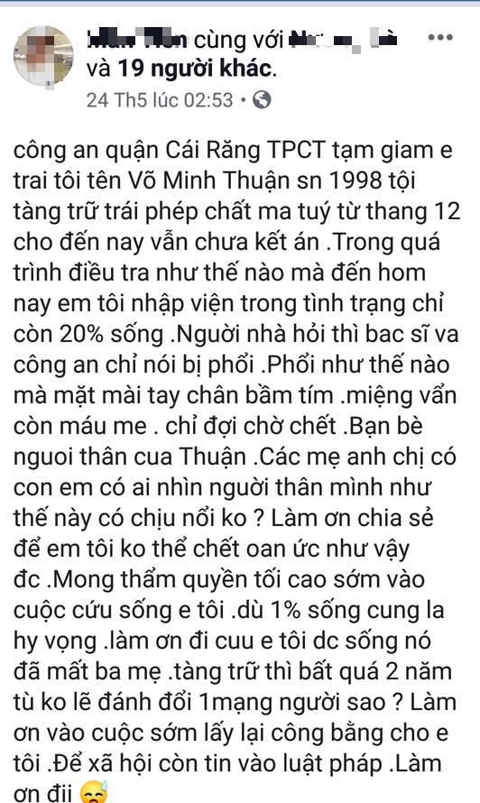 Cong an Can Tho thong tin bi can dang tam giam bi te dan den nhap vien