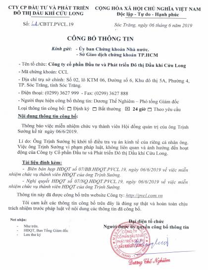 Hội đồng quản trị Dầu khí Cửu Long xóa tên ông Trịnh Sướng - Ảnh 1.