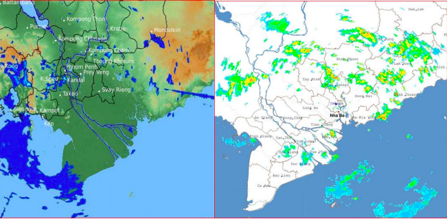 Ảnh vệ tinh phát hiện một vùng mây đối lưu lớn khả năng gây mưa to.