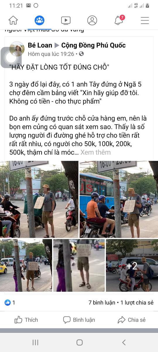 Lãnh đạo Phú Quốc lên tiếng việc người nước ngoài đeo bảng xin tiền - Ảnh 3.