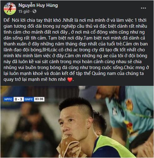 Vừa rớt hạng, CLB Quảng Nam phải chia tay tuyển thủ Huy Hùng - Ảnh 1.